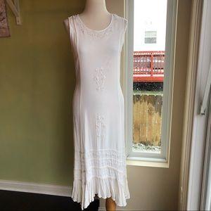 Vantage embroidered hippie peasant maxi dress M